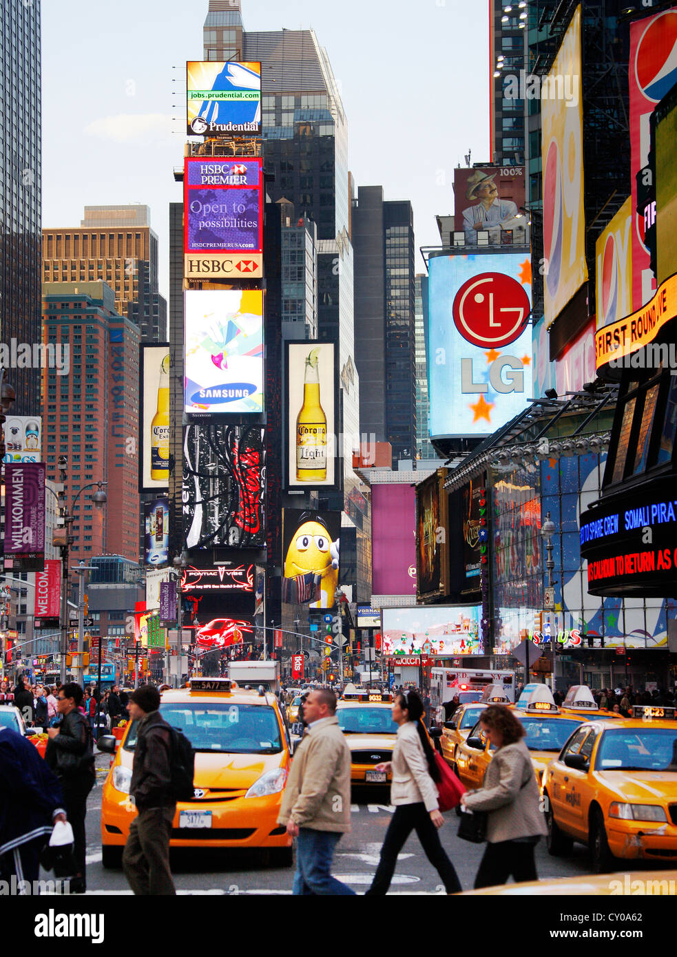 Times Square with advertising and tourists, New York City, New York, United States, North America - Stock Image
