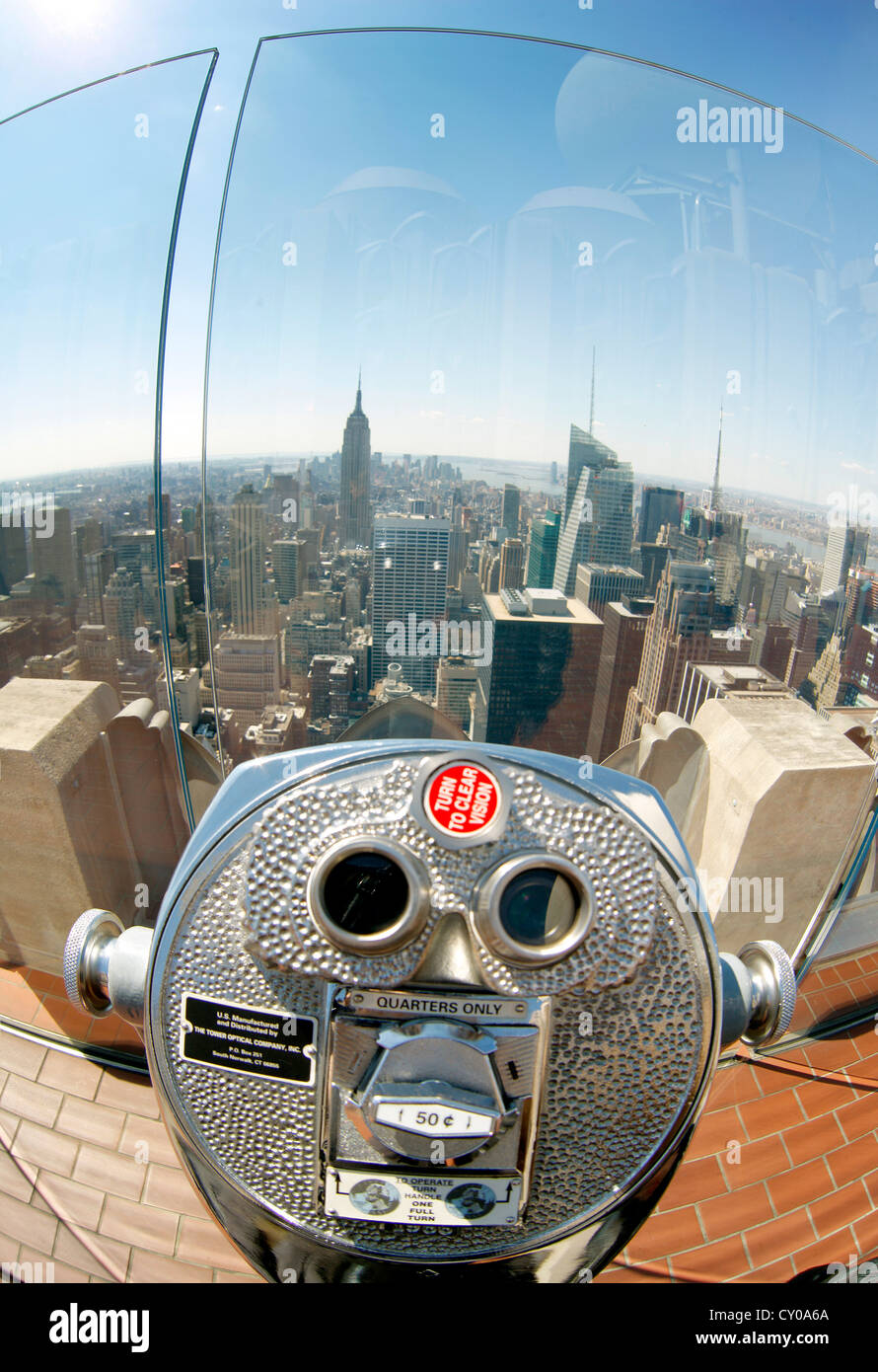Coin-telescope, view from Rockefeller Center with the skyline, New York City, New York, United States, North America - Stock Image