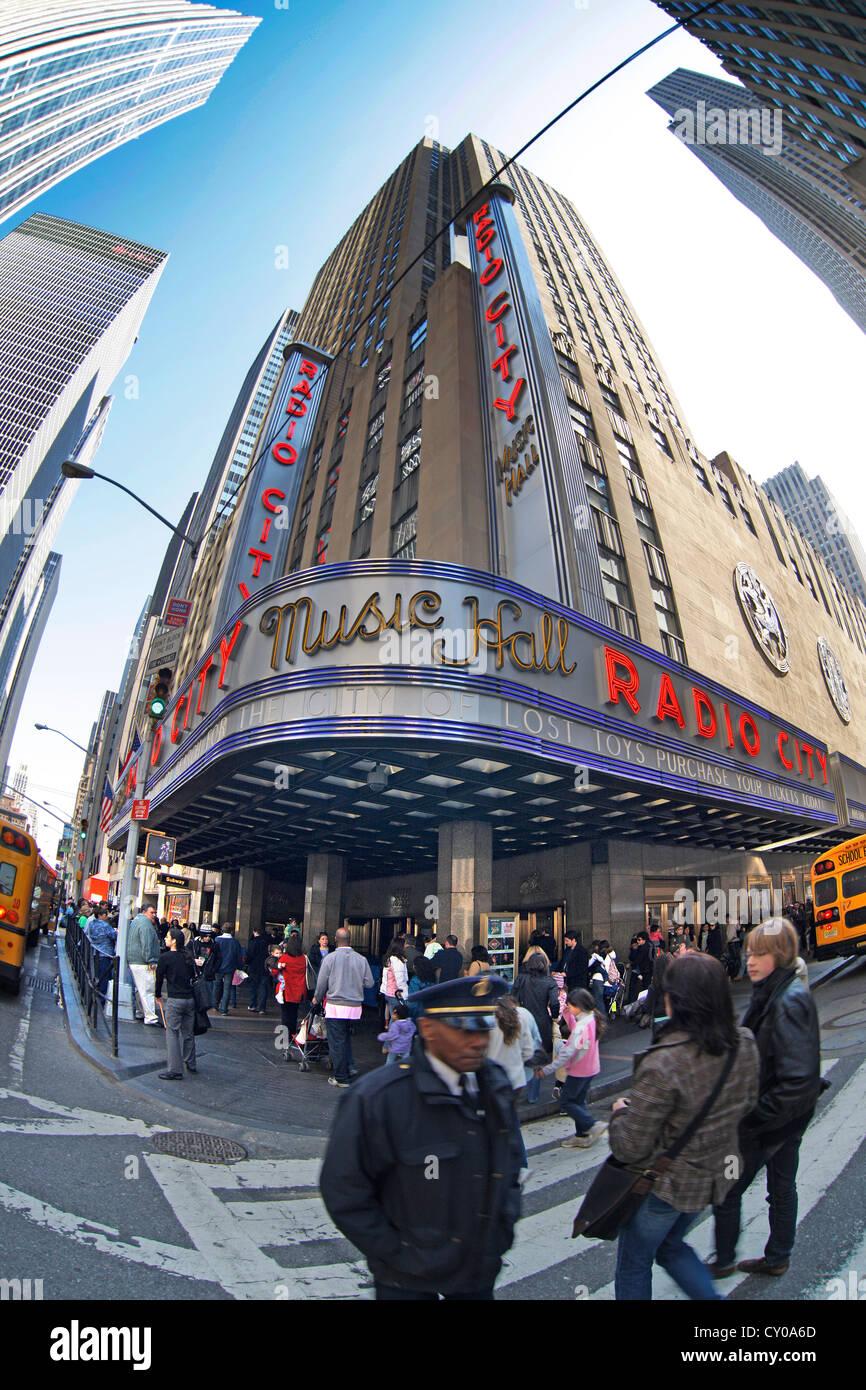 Radio City Music Hall, pedestrians, street scene, fish eye shot, New York City, New York, United States, North America - Stock Image