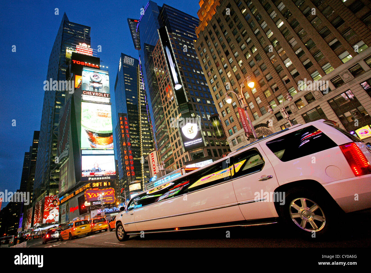 Limousine, Times Square at Night, New York City, New York, United States, North America - Stock Image
