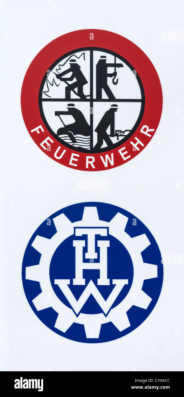 Logos of the fire department, 'rescue, extinguish, salvage, protect', and THW, Technisches Hilfswerk, civil - Stock Image