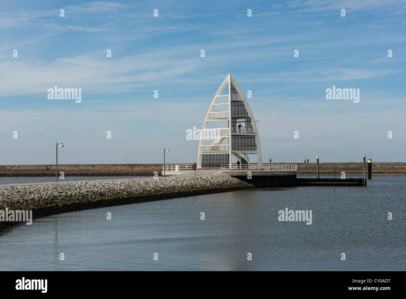 Observation tower at the harbour, landmark of the island of Juist - Toewerland, magic land, Lower Saxony Wadden - Stock Image