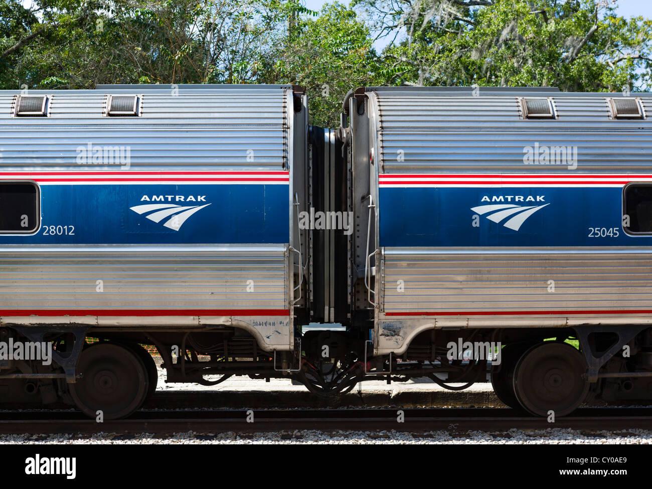 Amtrak passenger rail coaches, Florida, USA - Stock Image