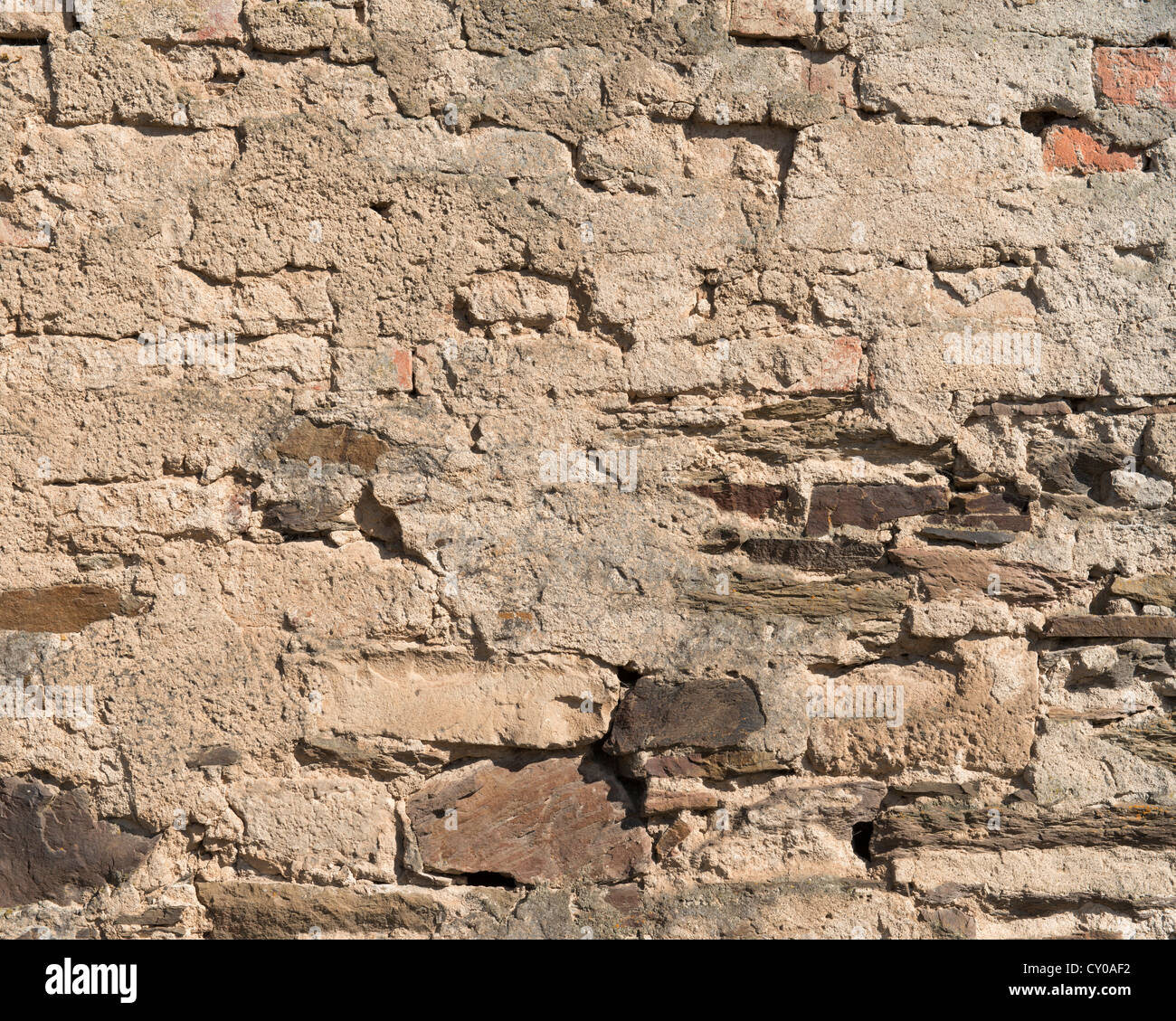 Old rendered stone wall, PublicGround - Stock Image