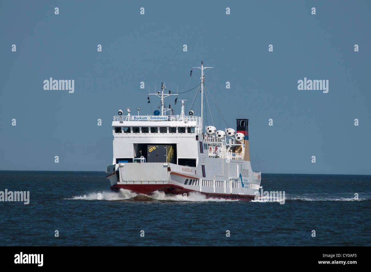 'Muensterland' ferry to the island of Borkum, of Ems AG, route Borkum-Emden - Stock Image