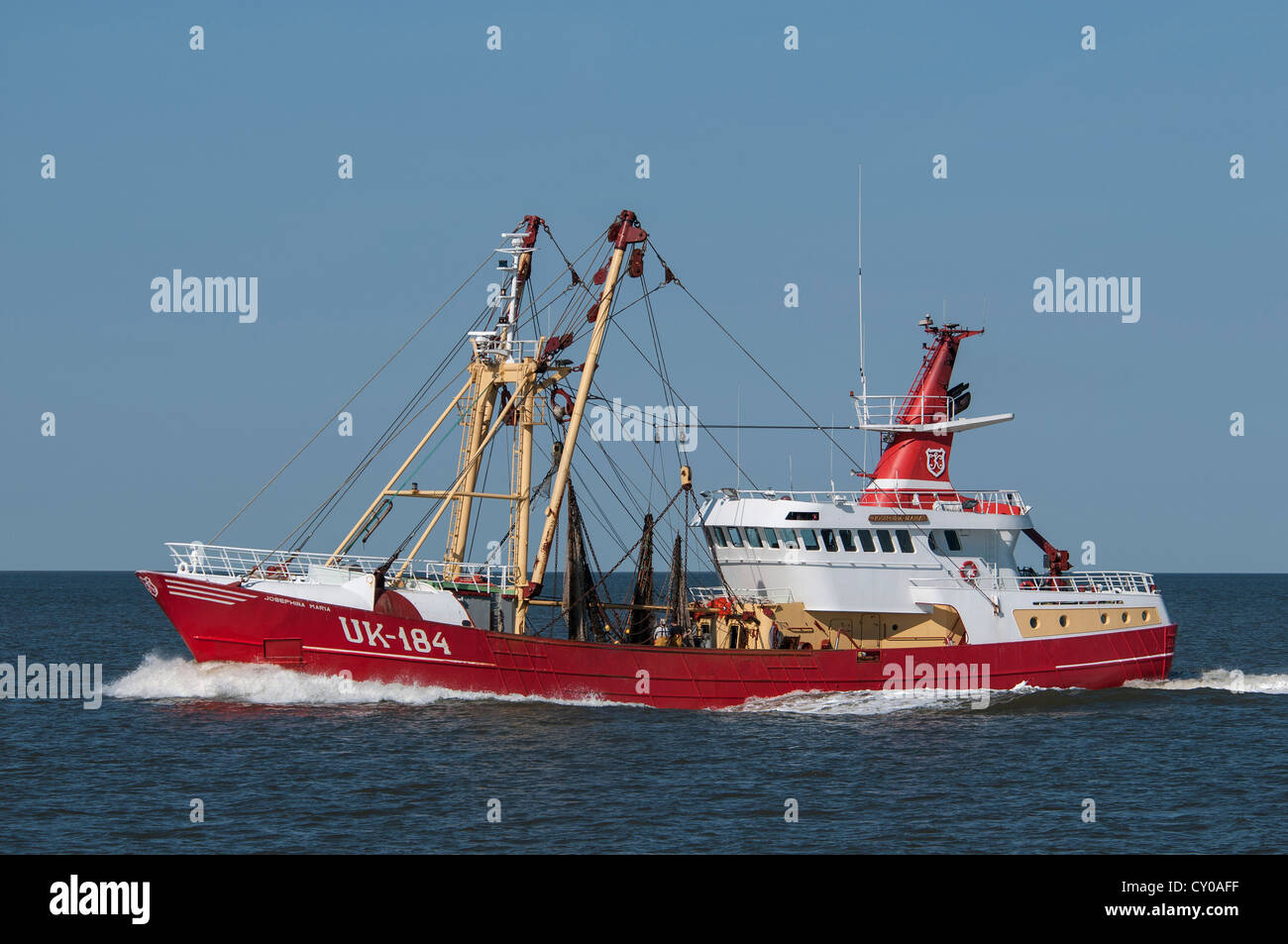 Side trawler Josephina Maria UK-184, North Sea, dragnet trawler - Stock Image