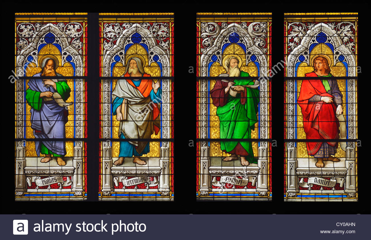 Detail, base of a window in Cologne Cathedral with the prophets Isaiah, Ezekiel, Jesaias and Daniel, Cologne Cathedral - Stock Image