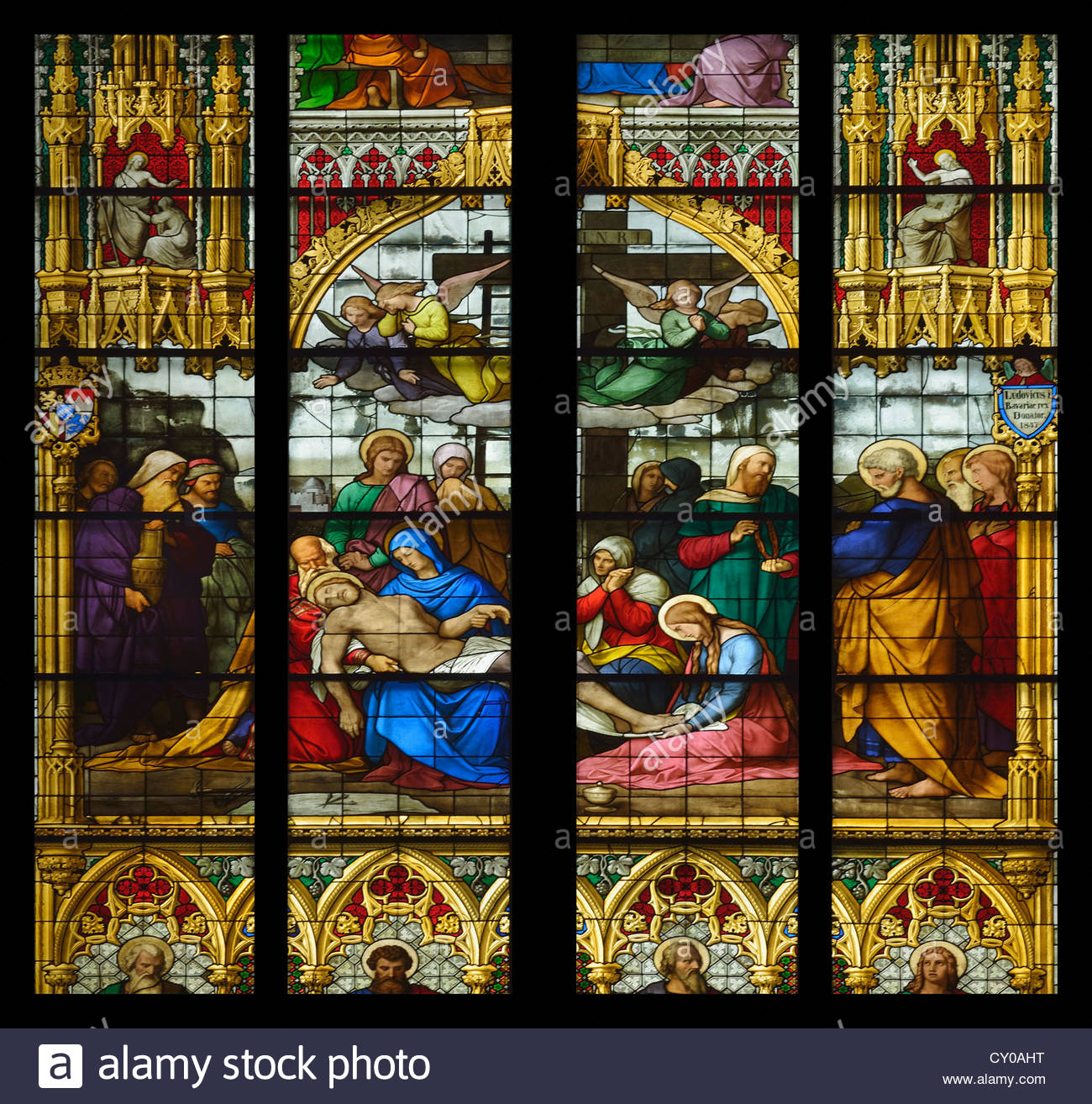 Window of the Lamentation of Christ, corpse of the Dead Christ in the arms of Mary, Cologne Cathedral - Stock Image