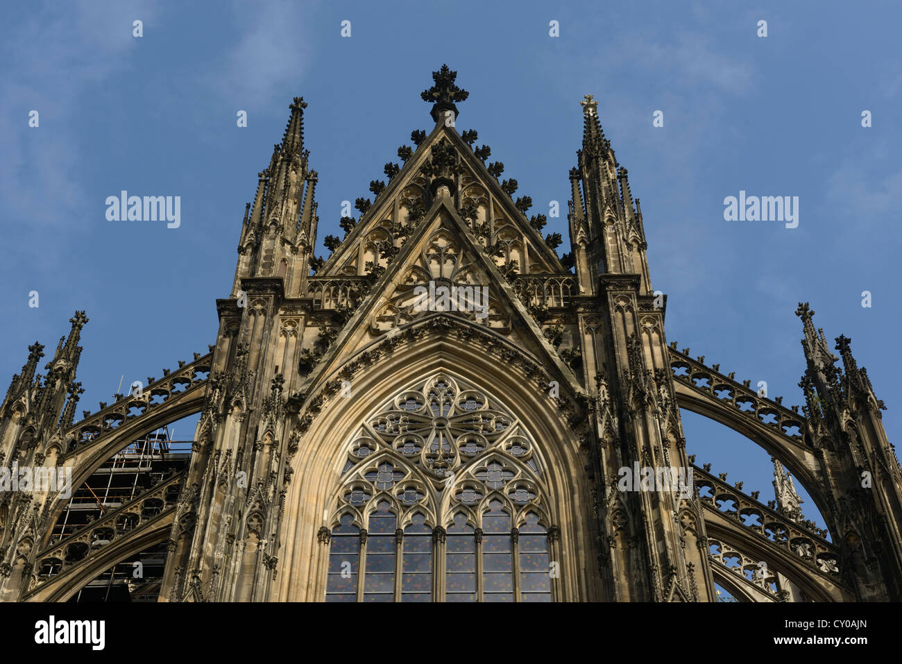 Gothic flying buttresses on the southern entrance of Cologne Cathedral, a UNESCO World Heritage site, Cologne - Stock Image