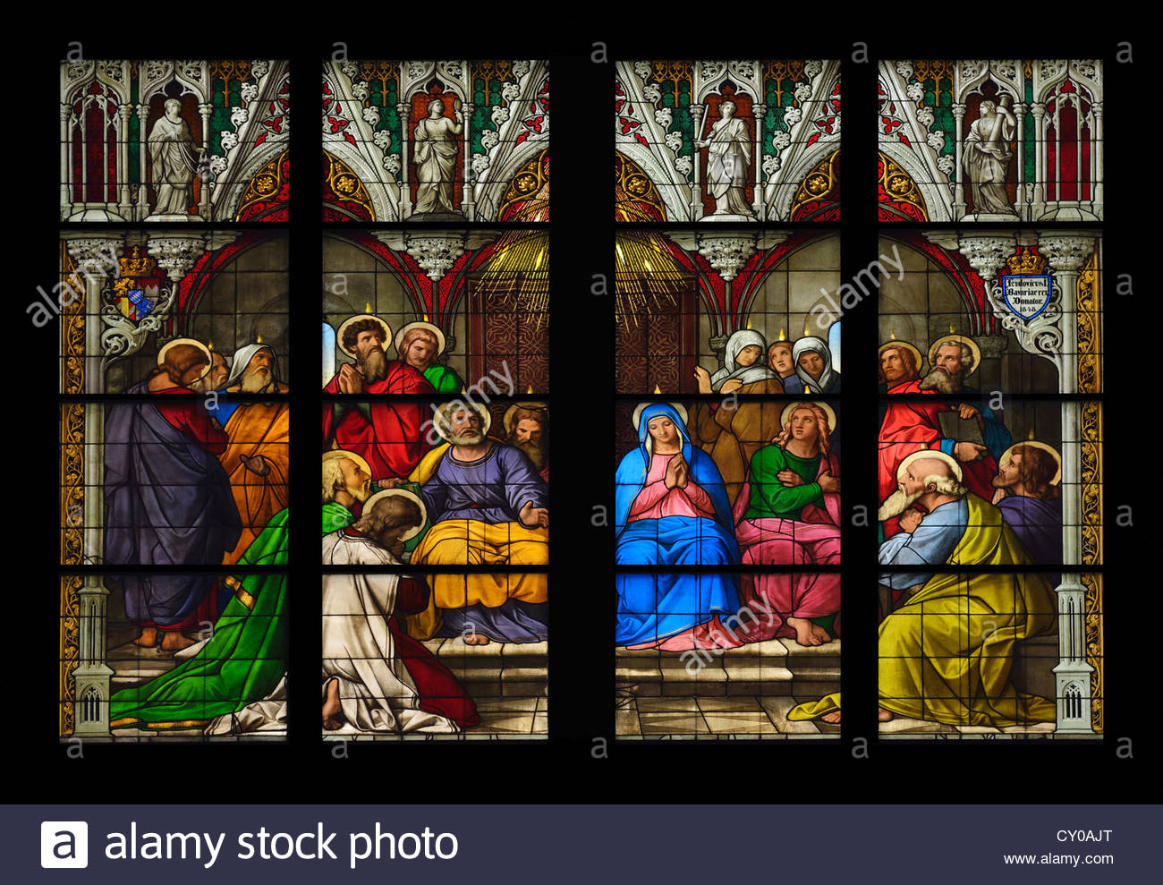 Middle part of the Pfingstfenster window, descent of the Holy Spirit, Cologne Cathedral, a UNESCO World Heritage - Stock Image