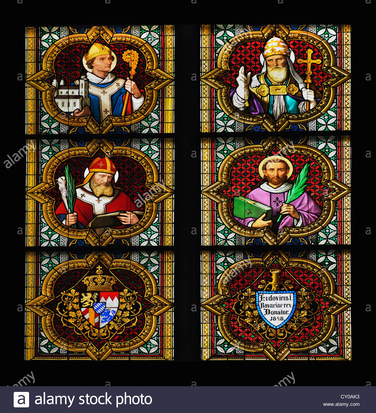 Bayernfenster window, lower part of Johannesfenster window, Christian rulers, the coat of arms of Bavarian and the - Stock Image