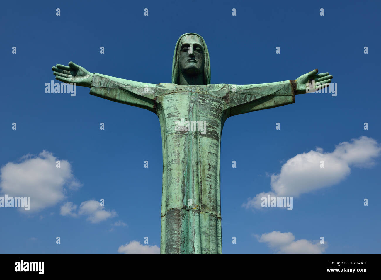 Jesus with outstretched arms, statue, North Rhine-Westphalia, PublicGround, 36 megapixels - Stock Image