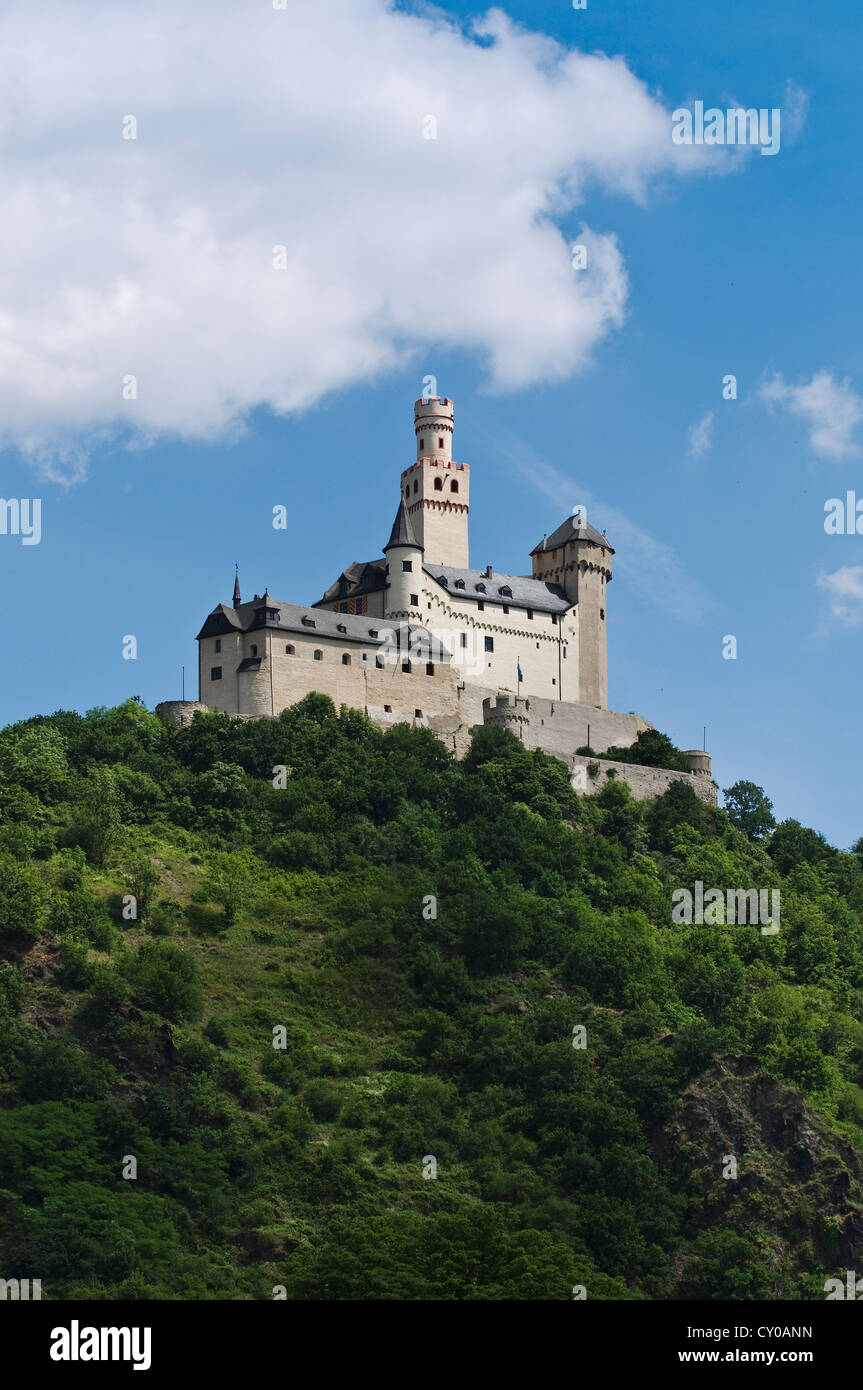 Marksburg castle, southwestern side, Braubach, hilltop castle on the Rhine River, Upper Middle Rhine Valley UNESCO - Stock Image