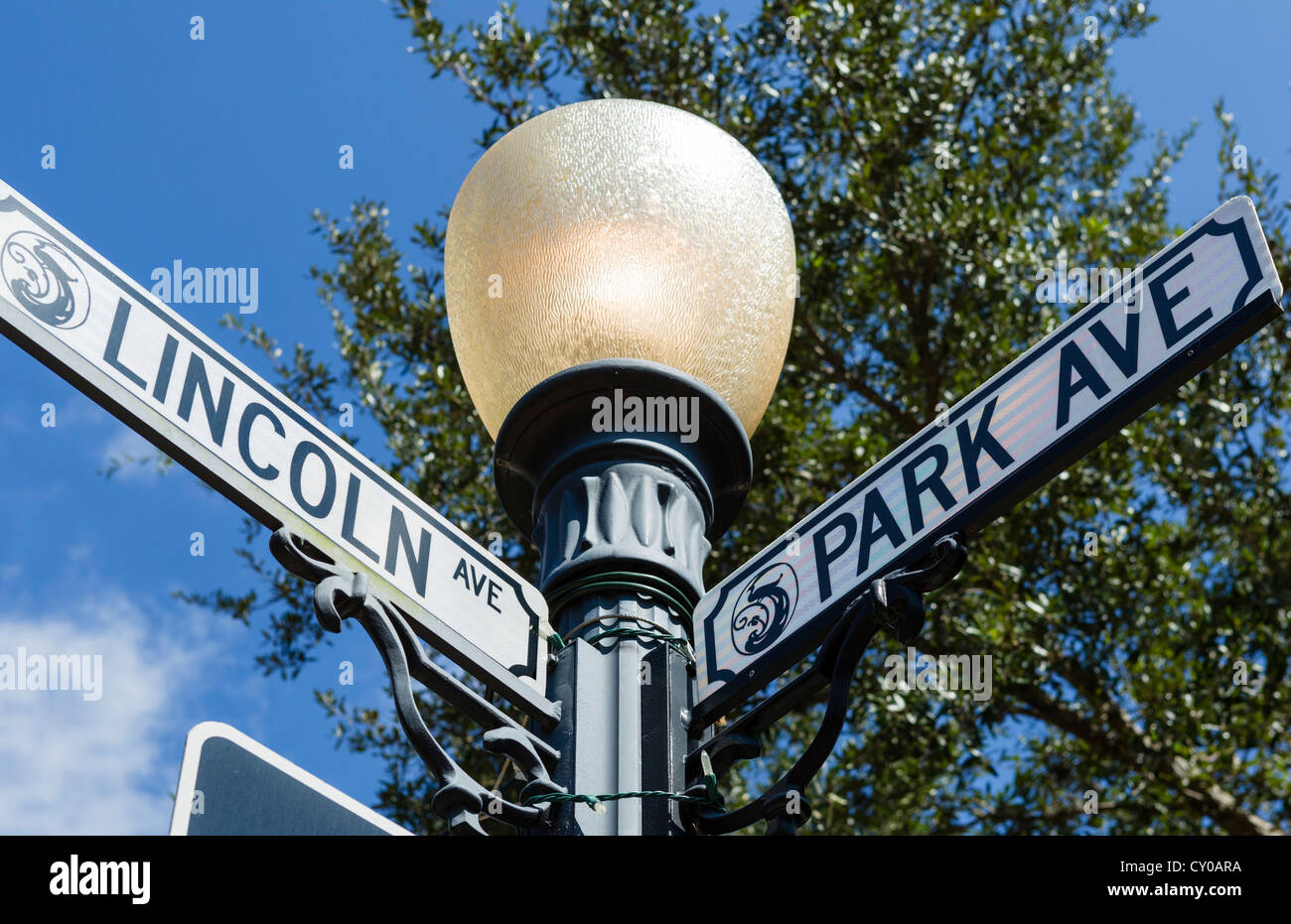 Street sign on Park Avenue (the main street), Winter Park, Central Florida, USA - Stock Image