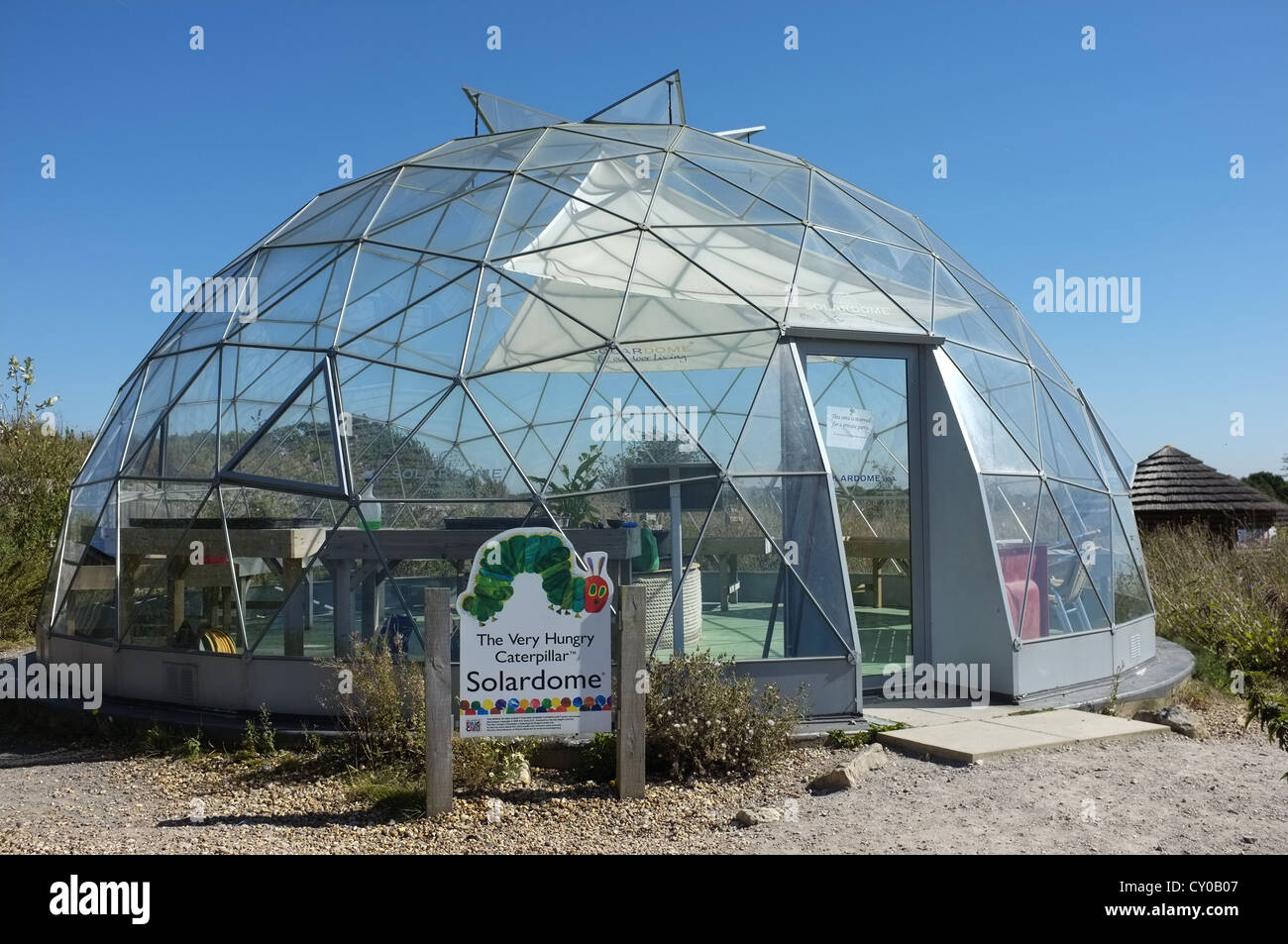 Dome shaped glass house at Butterfly World, St Albans, Hertfordshire - Stock Image