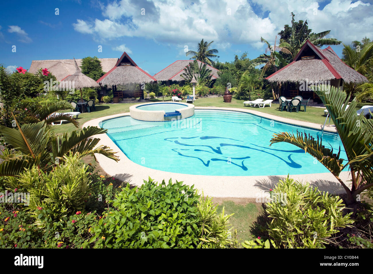 Small resort, Dolphin House on White Beach, Moalboal, Cebu, Philippines, Indo-Pacific region, Asia - Stock Image