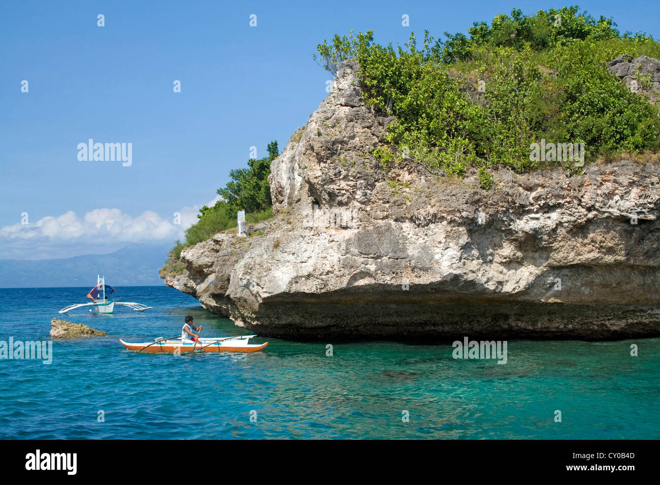 Fishing boat off Pescador Island, well-known dive site and marine park, Moalboal, Cebu, Philippines, Indo-Pacific - Stock Image
