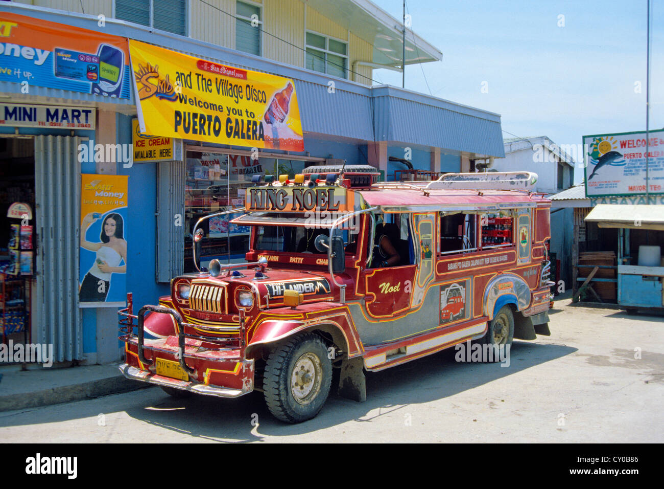Jeepney converted into a mini-bus, one of the old jeeps left behind by the US-Americans after their withdrawal from - Stock Image