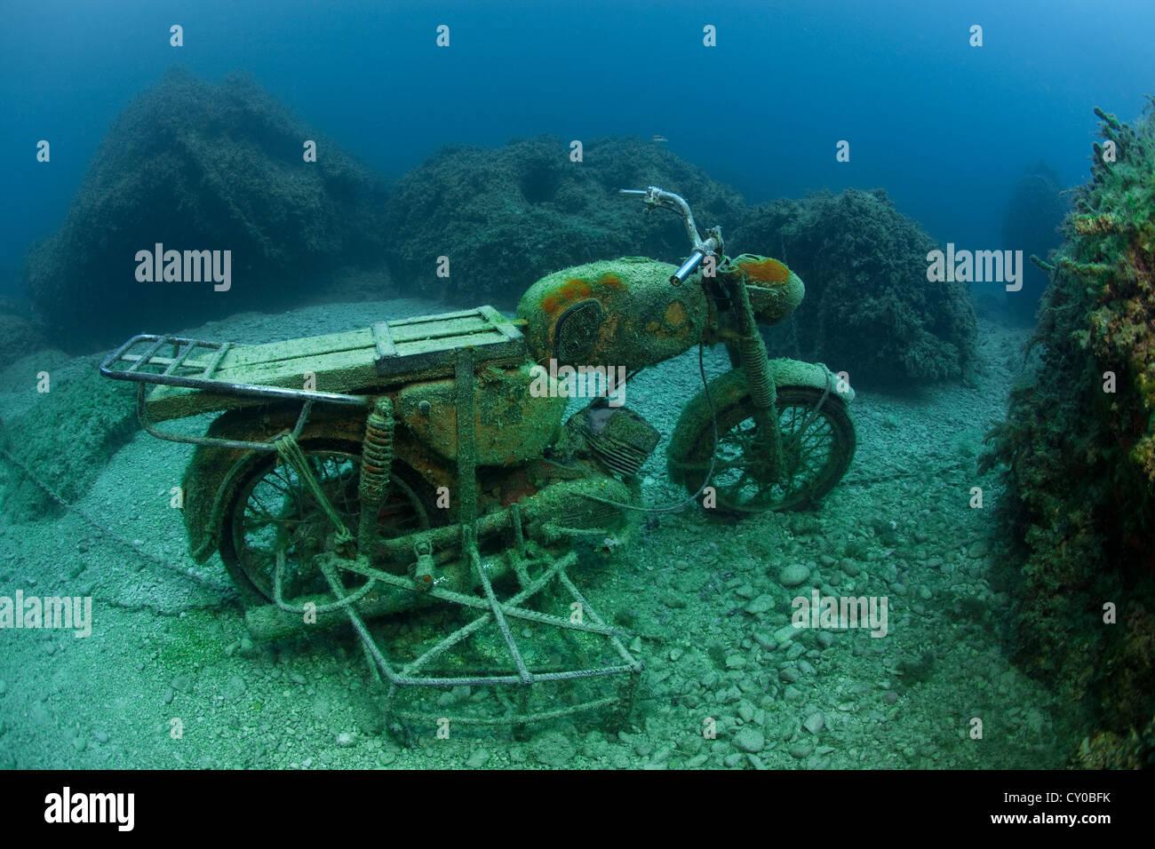 Sunk motorbike, Zakynthos, Greece, Europe - Stock Image