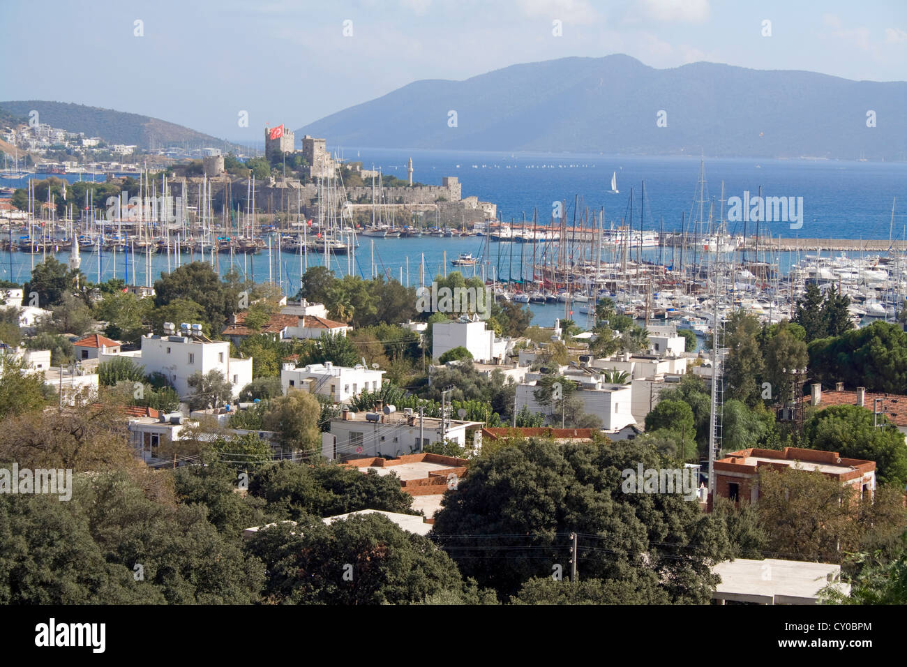 Cityscape, St. Peter's Castle, Bodrum Castle, landmark, fortress from the Middle Ages, Bodrum, Turkey, Mediterranean - Stock Image