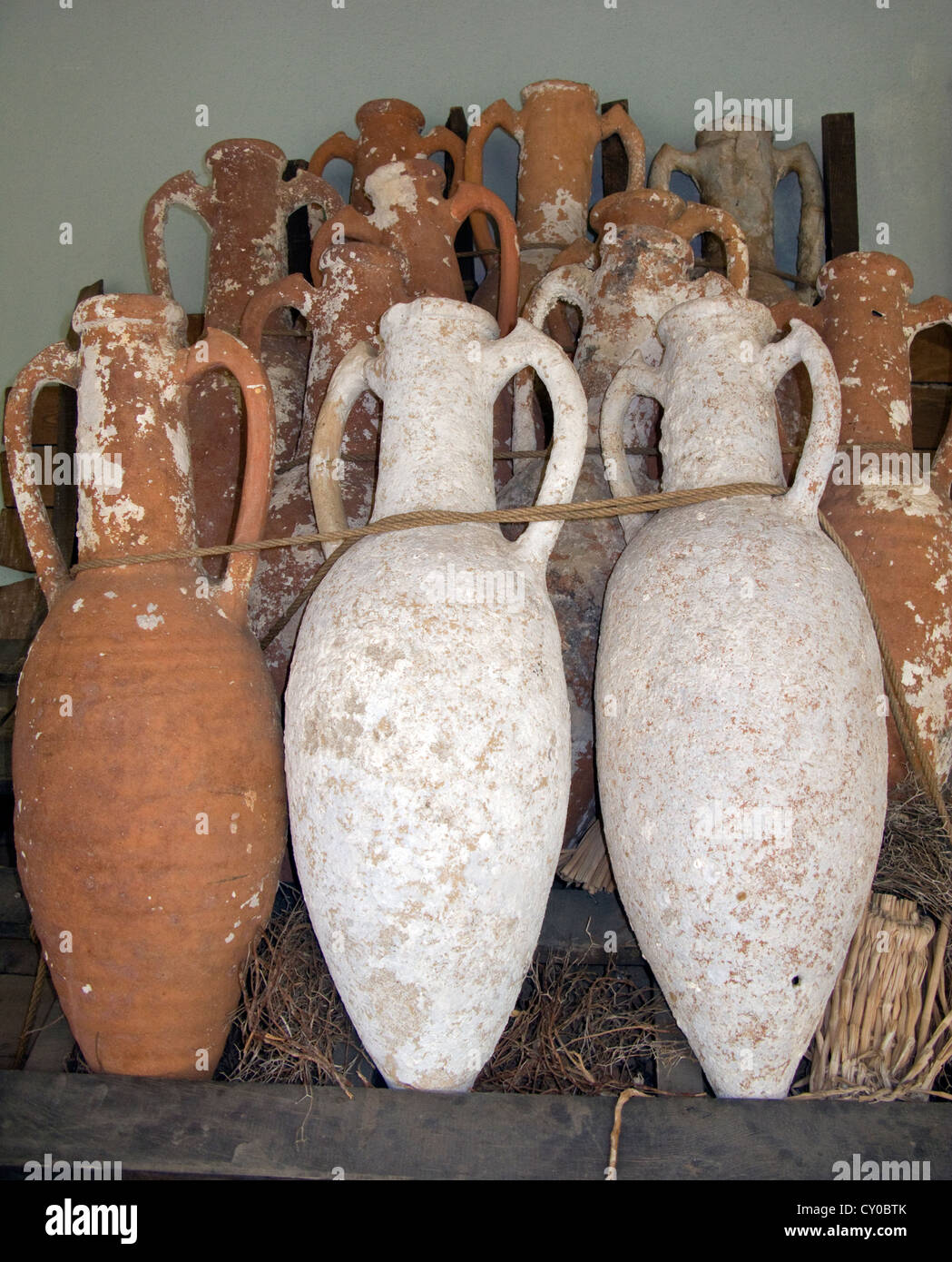 Findings, amphoras, Museum for Underwater Archaeology, Bodrum, Turkey - Stock Image
