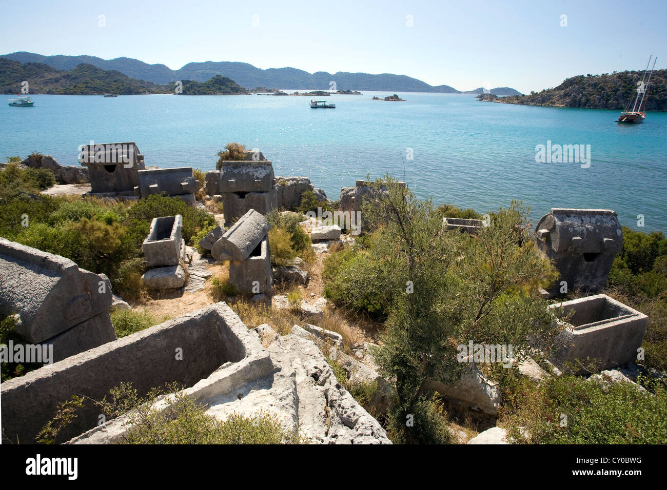 Kerkova, the sunken city, was destroyed by a massive seaquake, Kekova, Turquoise Coast, Turkish Riviera, Lycia, - Stock Image