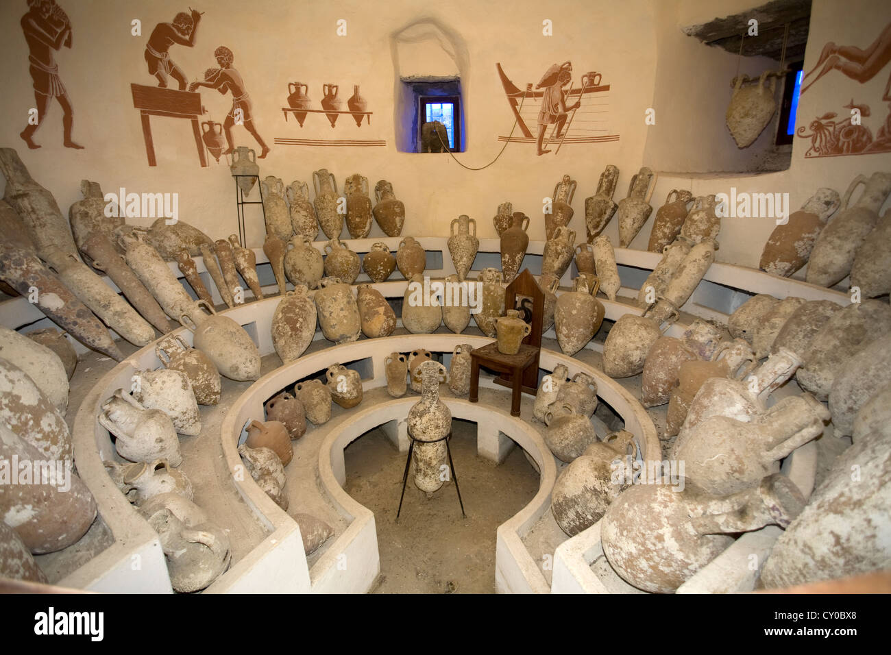 Amphorae, findings from the Aegaen Sea, Museum of Underwater Archaeology, in the crusader castle of St. Peter, Bodrum, - Stock Image