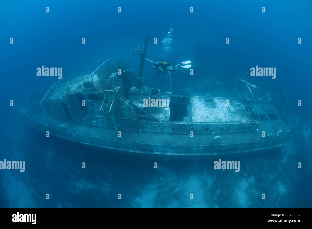 Coastguard Navy Ship TCG 115, wreck of a coastal patrol boat of the Turkish navy, was sunk to create an artificial - Stock Image