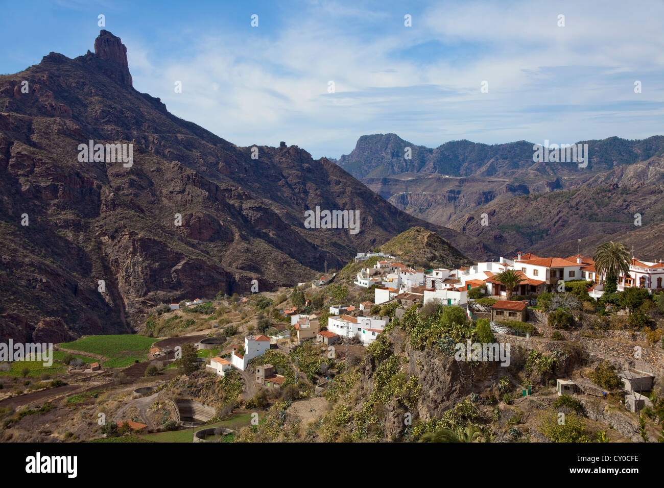 View towards the mountain village of Tejeda and the Roque Bentayga mountain, Gran Canaria, Canary Islands, Spain, Stock Photo