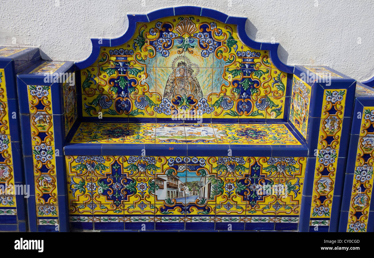 Bench made of tiles, Promenade Paseo de Canarias, each of the 21 municipalities has an image made of tiles with - Stock Image