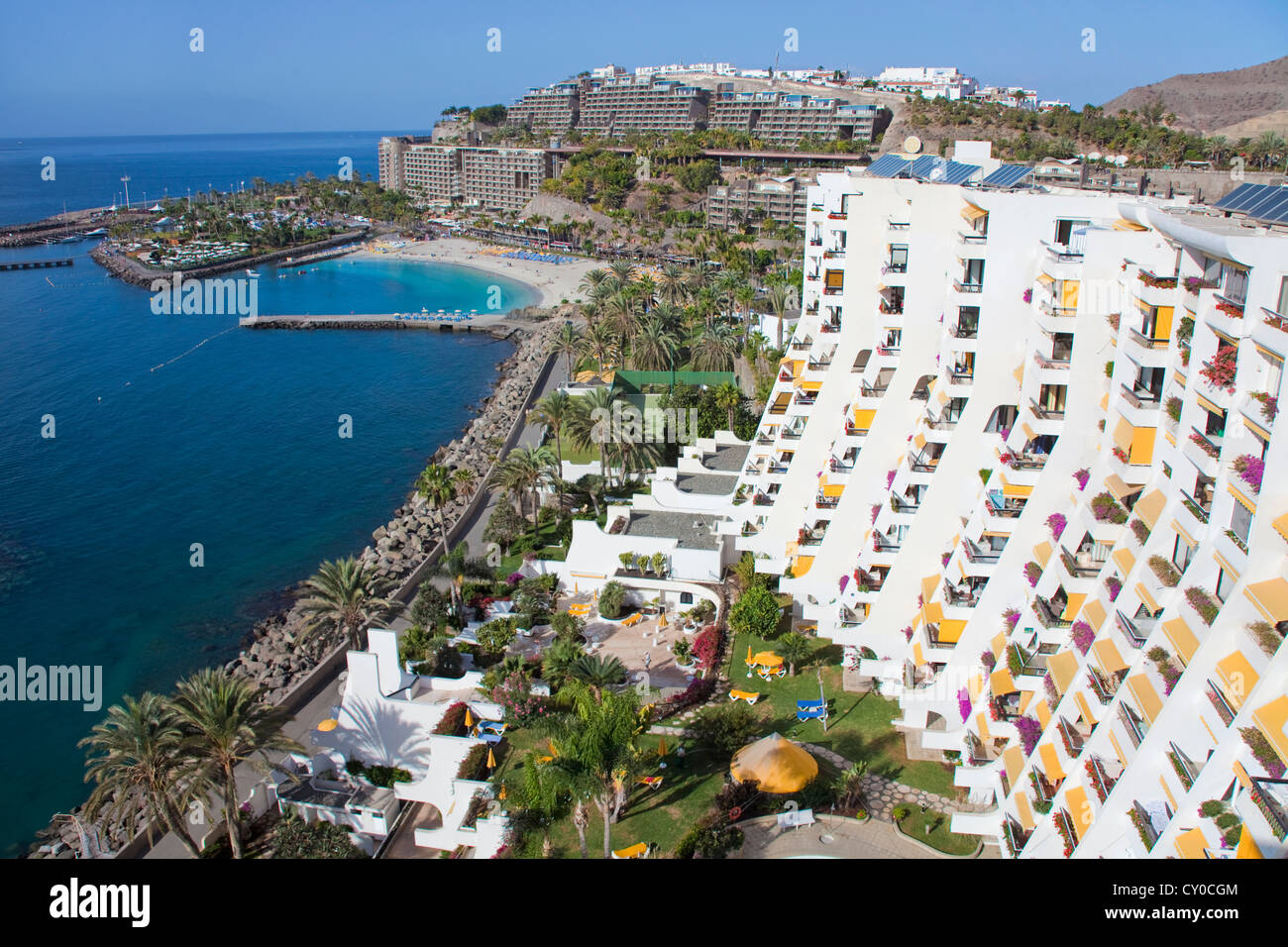 View of the Anfi del Mar resort and Playa de la Verga beach as seen from Aquamarina hotel, near Arguineguin, Gran Stock Photo