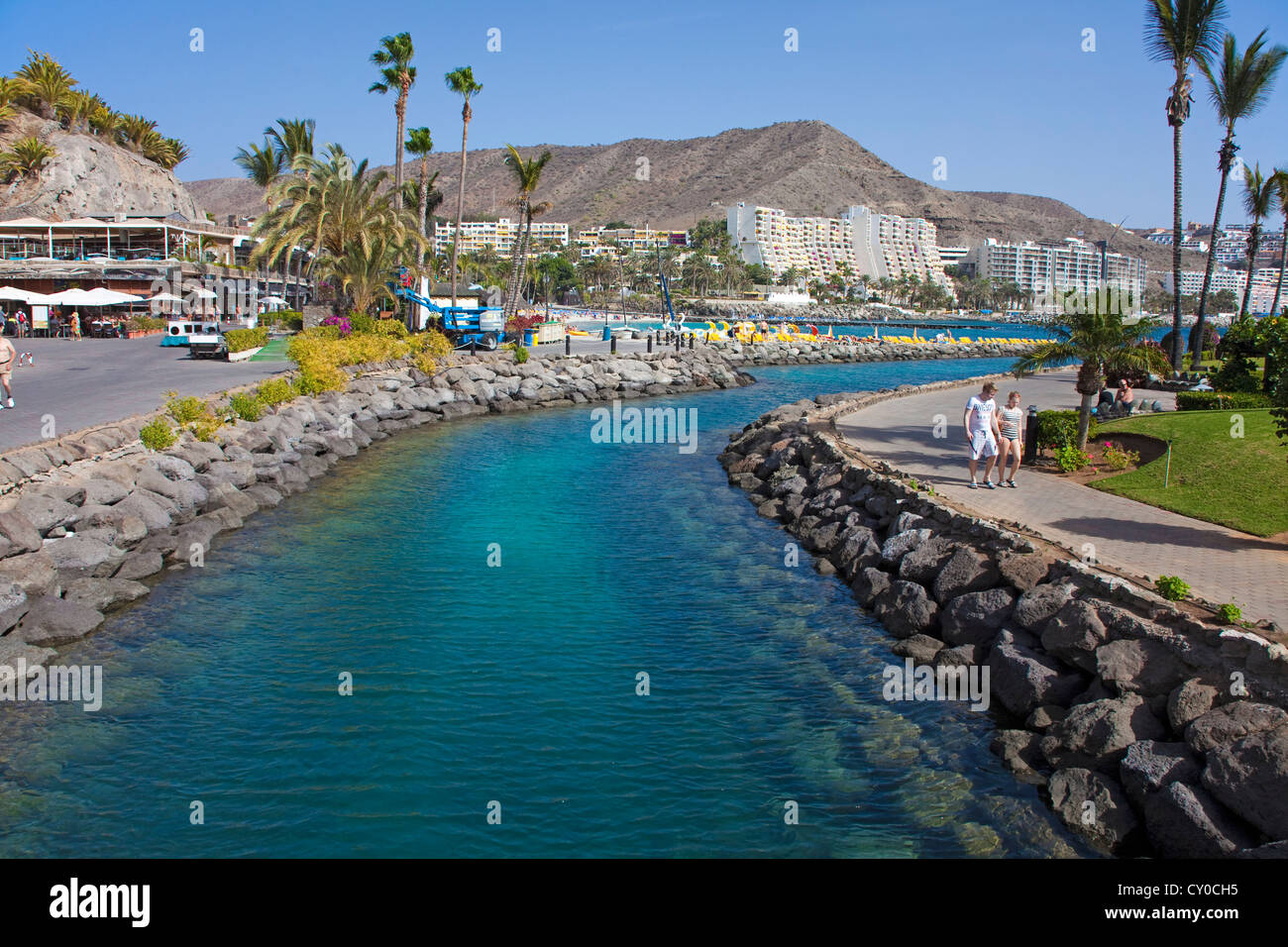 Artificial canal on the Playa de la Verga, Anfi del Mar, Arguineguin, Gran Canaria, Canary Islands, Spain, Europe - Stock Image