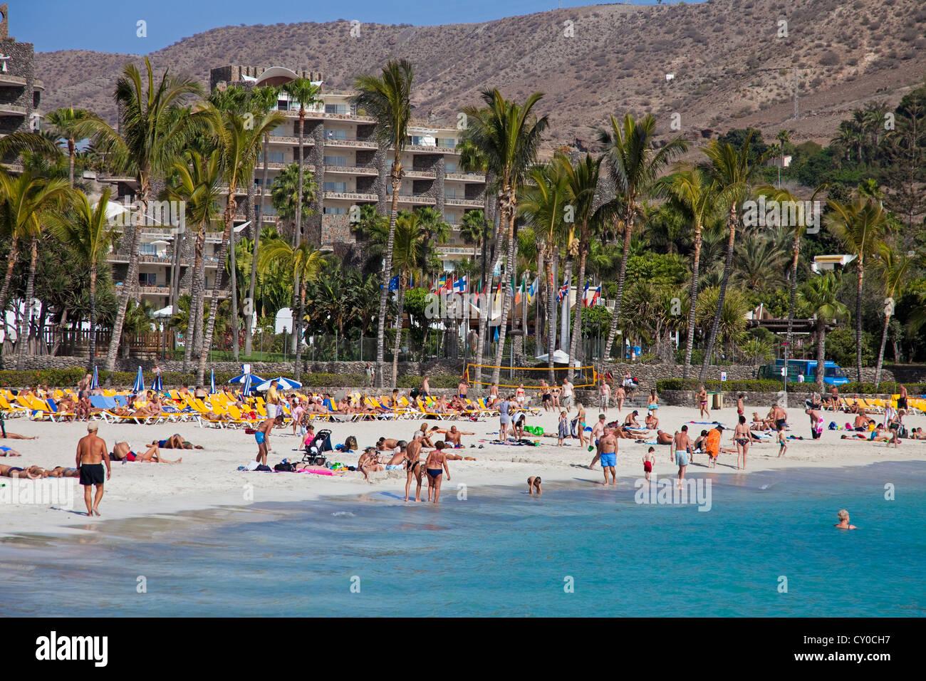 Beach and hotel complex of Anfi del Mar, Playa de la Verga, near Arguineguin, Gran Canaria, Canary Islands, Spain, Stock Photo