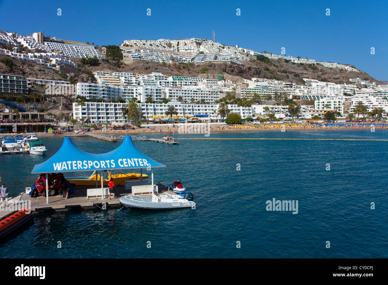 Watersports centre and beach of Puerto Rico, Gran Canaria, Canary Islands, Spain, Europe - Stock Image