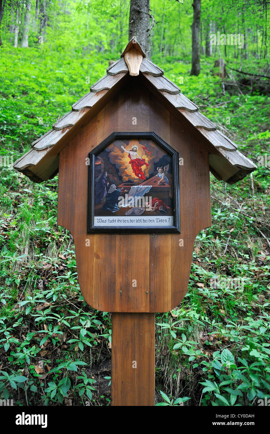 Image of the 11th Station of the Cross, Why seek ye the living, among the dead?, Ramsau, Upper Bavaria, Bavaria - Stock Image