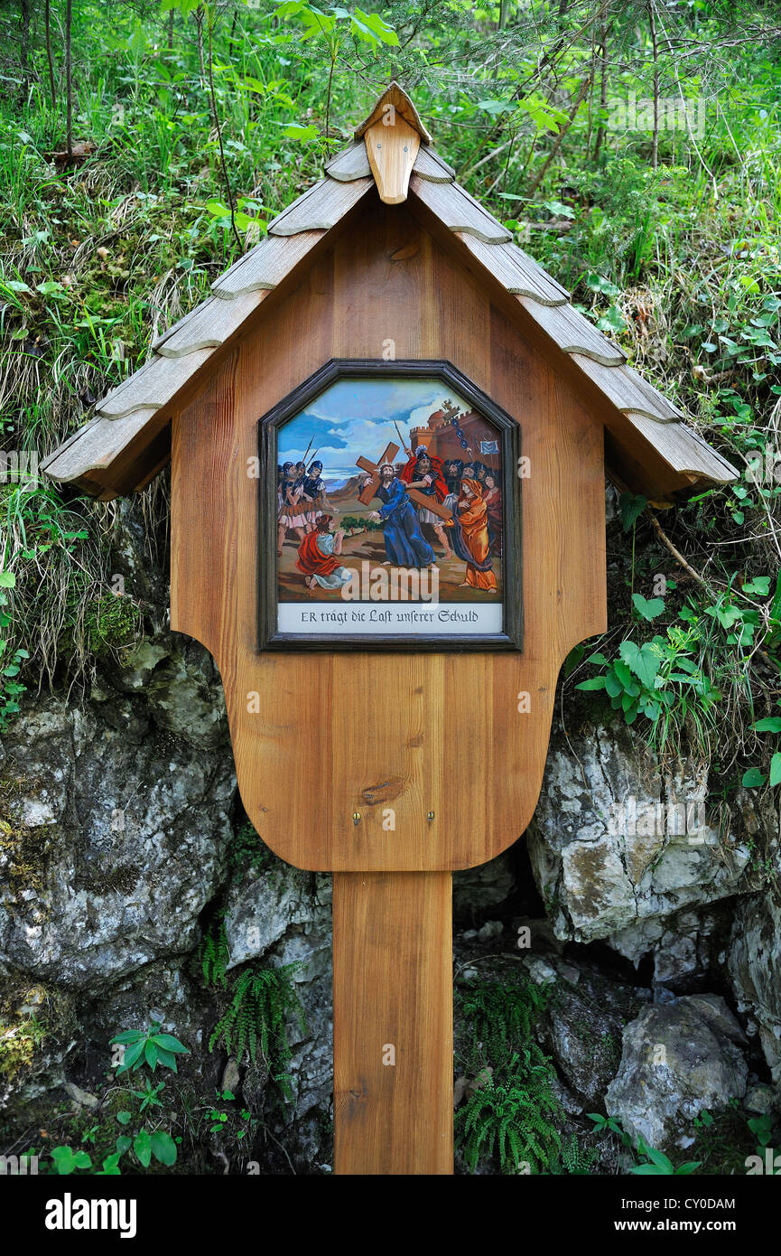 Image of the 9th Station of the Cross, He bears the burden of our guilt, Ramsau, Upper Bavaria, Bavaria - Stock Image