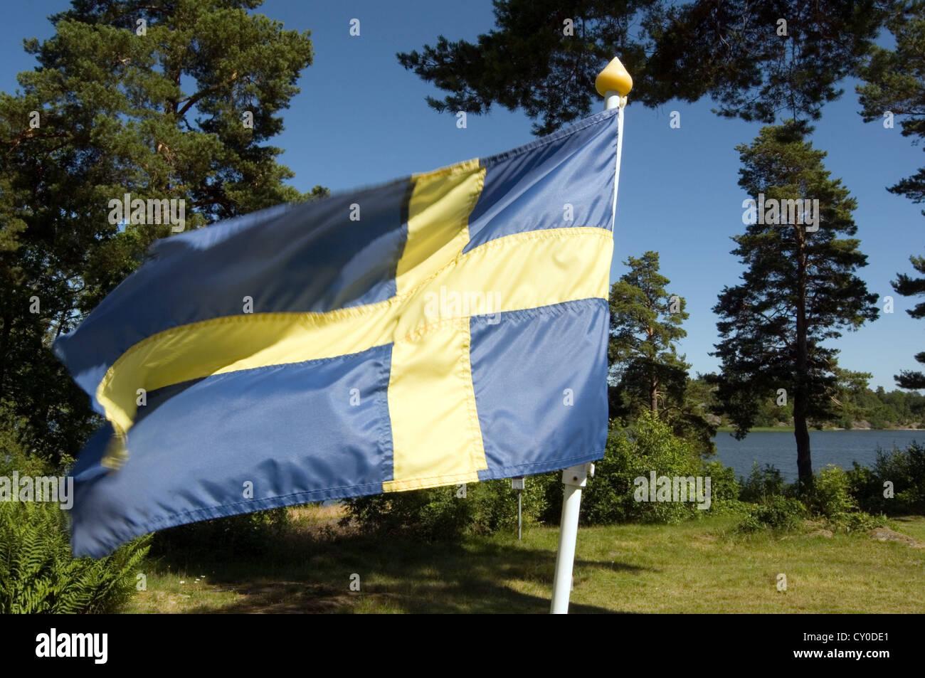 swedish flag flags sweden svenska svensk - Stock Image