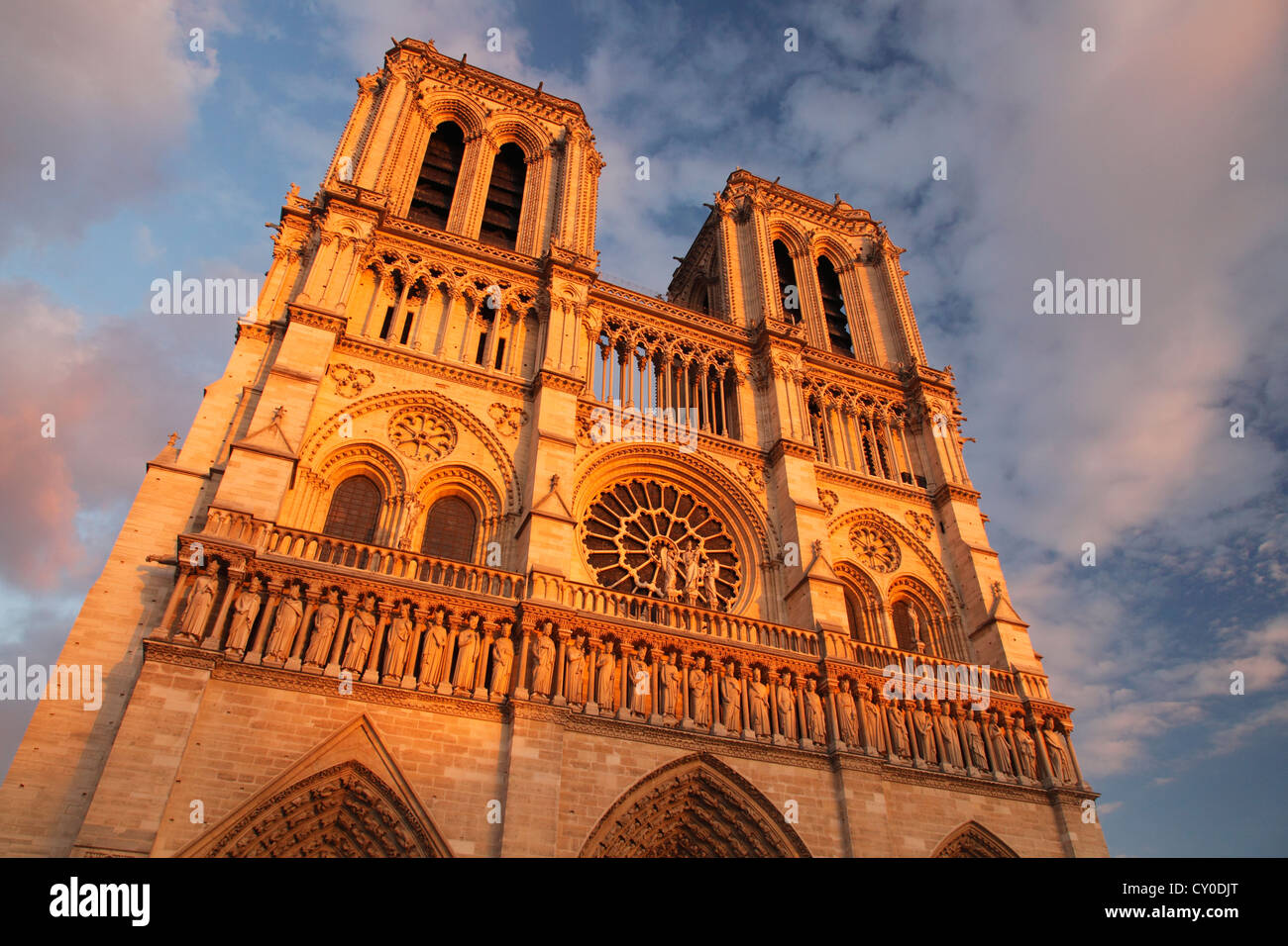 Notre Dame de Paris in sunset light; La cathédrale Notre-Dame de Paris Stock Photo
