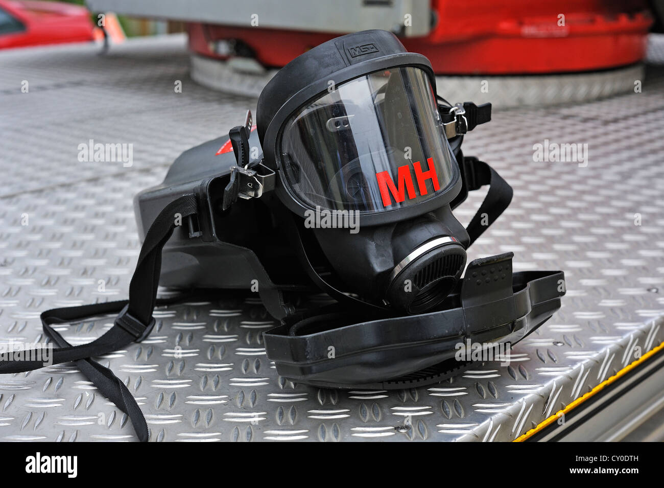 Breathing mask on a fire engine of the volunteer fire department of the town of Lauf an der Pegnitz, Simonshofen - Stock Image