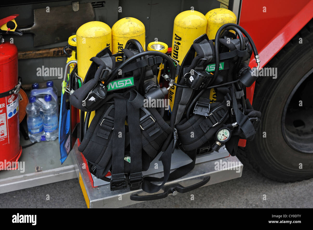 Compressed air breathing apparatus on a fire engine of the volunteer fire department of the town of Lauf an der - Stock Image