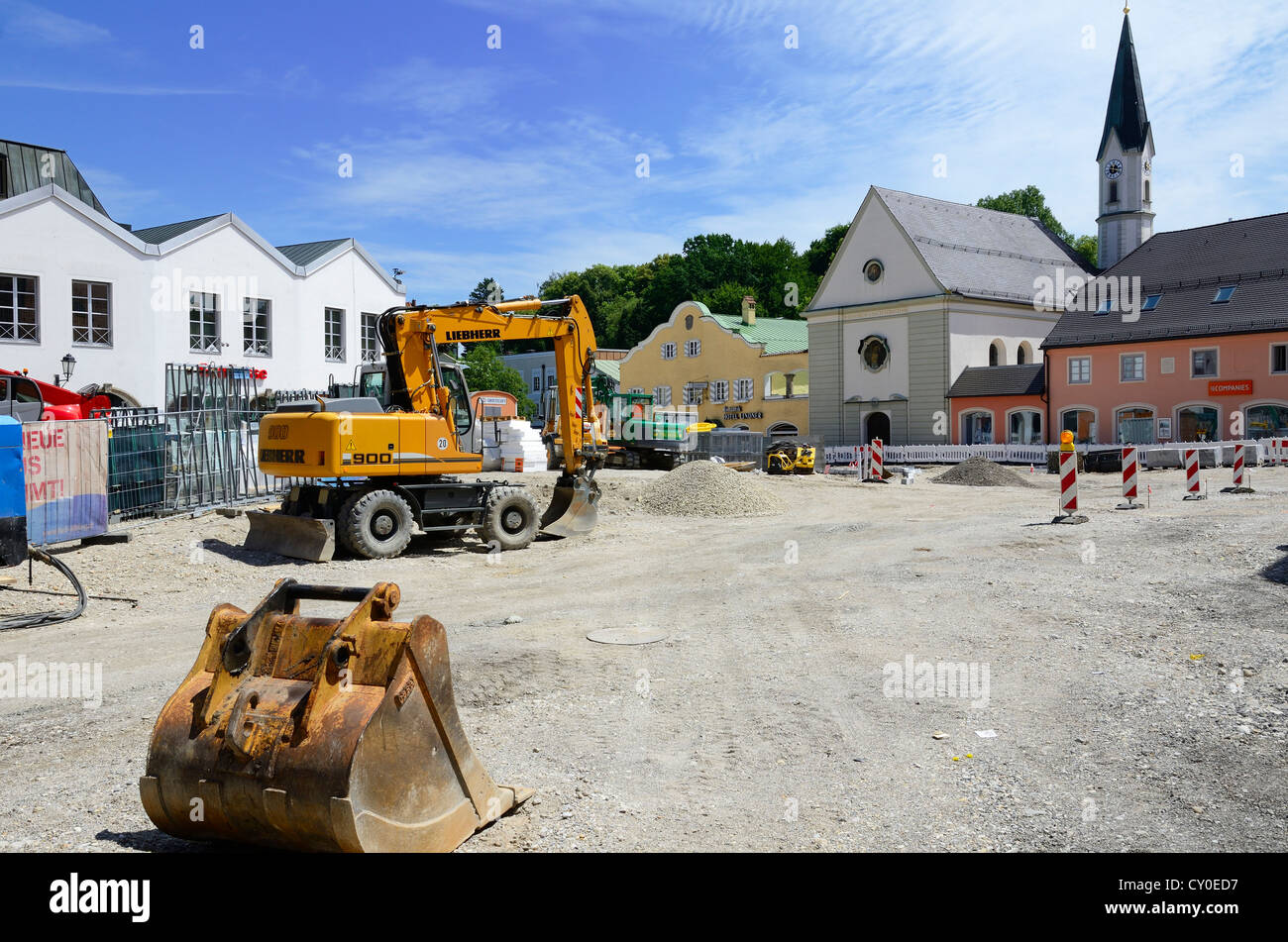 Construction work for traffic calming, city centre of Bad Aibling, Bavaria - Stock Image