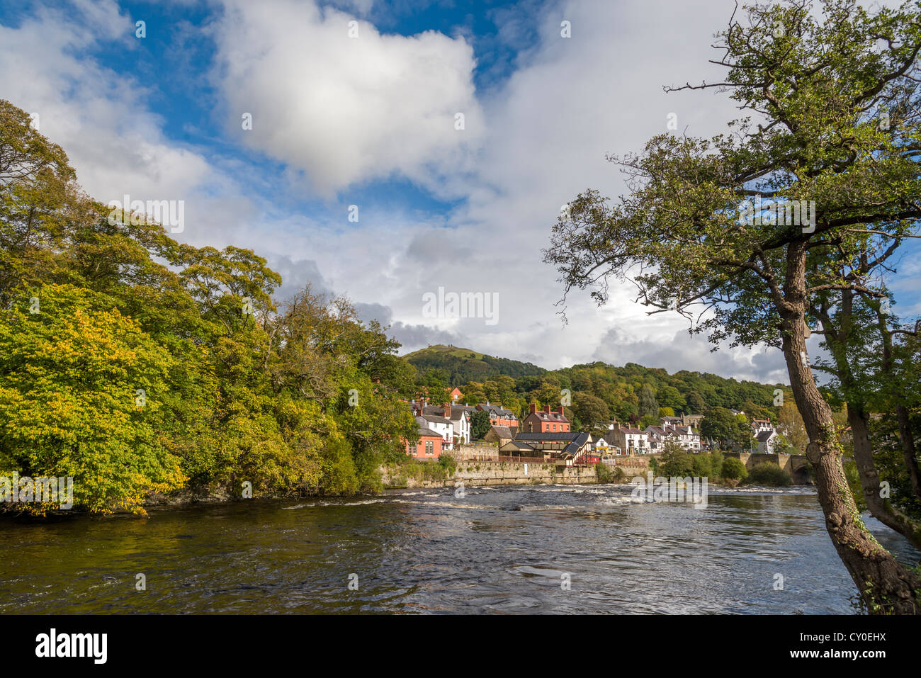 The river Dee at Llangollen in North Wales. Stock Photo