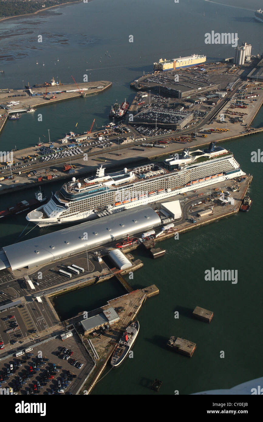 Celebrity Eclipse in the port of Southampton. Aerial photos. - Stock Image