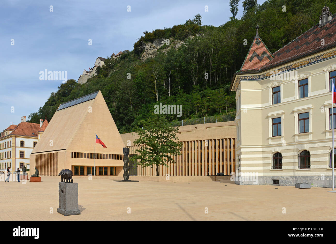 The Principality of Liechtenstein is known for his banks and shops - Stock Image