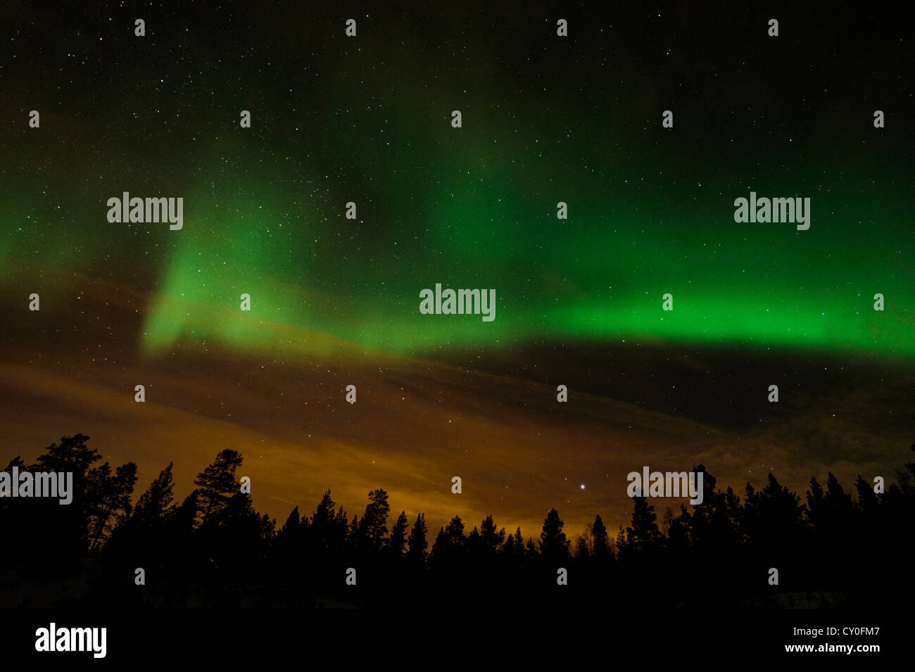 Aurora Borealis or northern lights near Alta in Norway - Stock Image