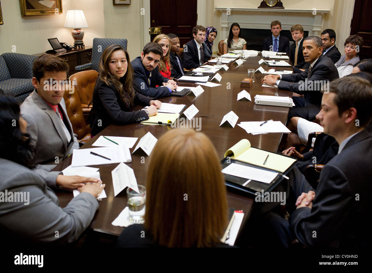 US President Barack Obama meets with young leaders for a Youth Roundtable June 6, 2011 in the Roosevelt Room of - Stock Image