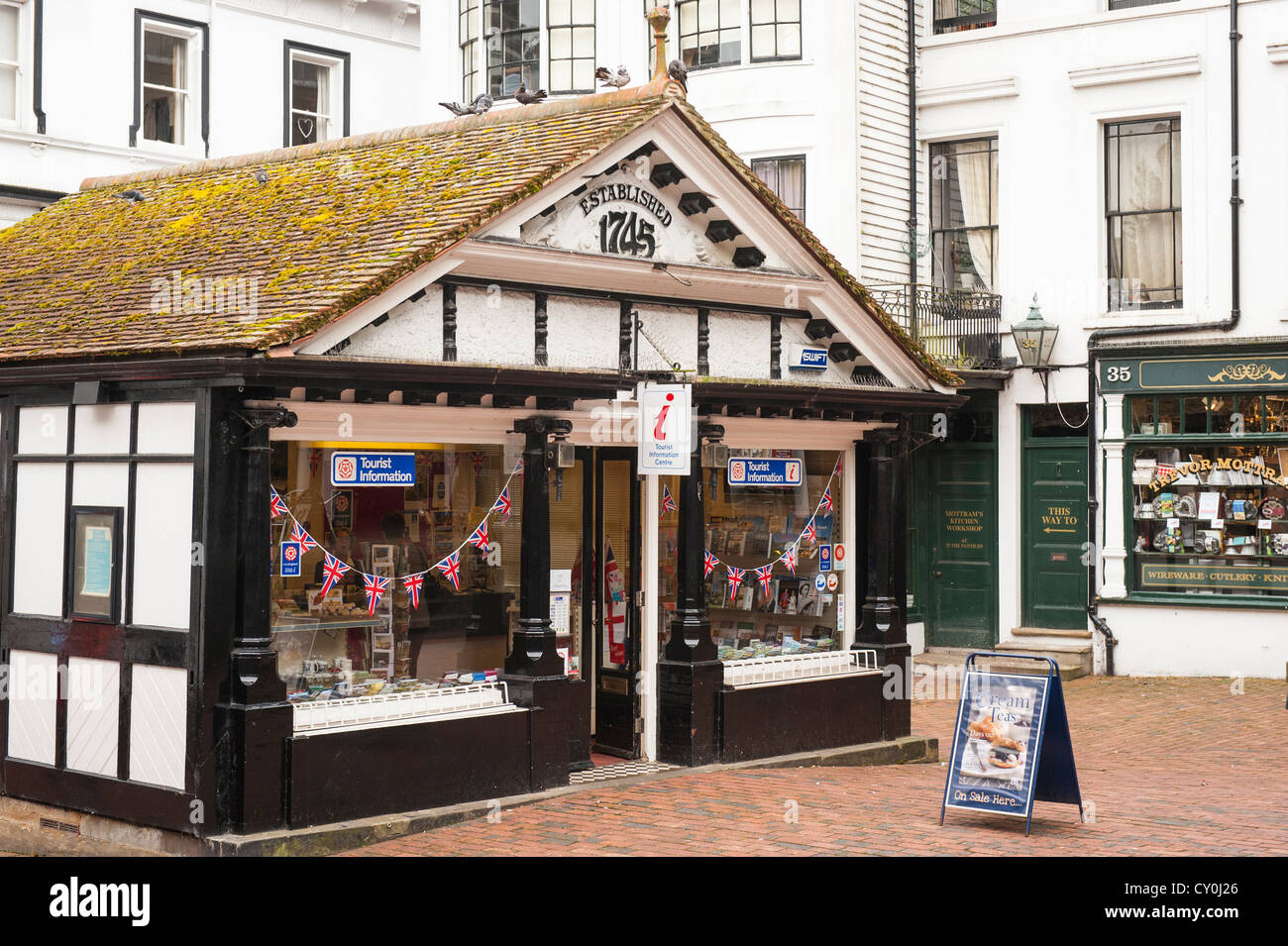 the office centre. Kent Royal Tunbridge Wells The Pantiles Old Fish Market Established 1745 Now Tourist Information Office Centre Center Jubilee Bunting Flags Flag