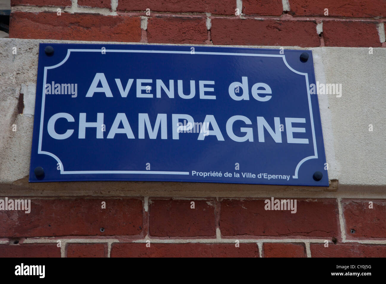 'rue de champagne' were all famous campagne-companies are located - Stock Image