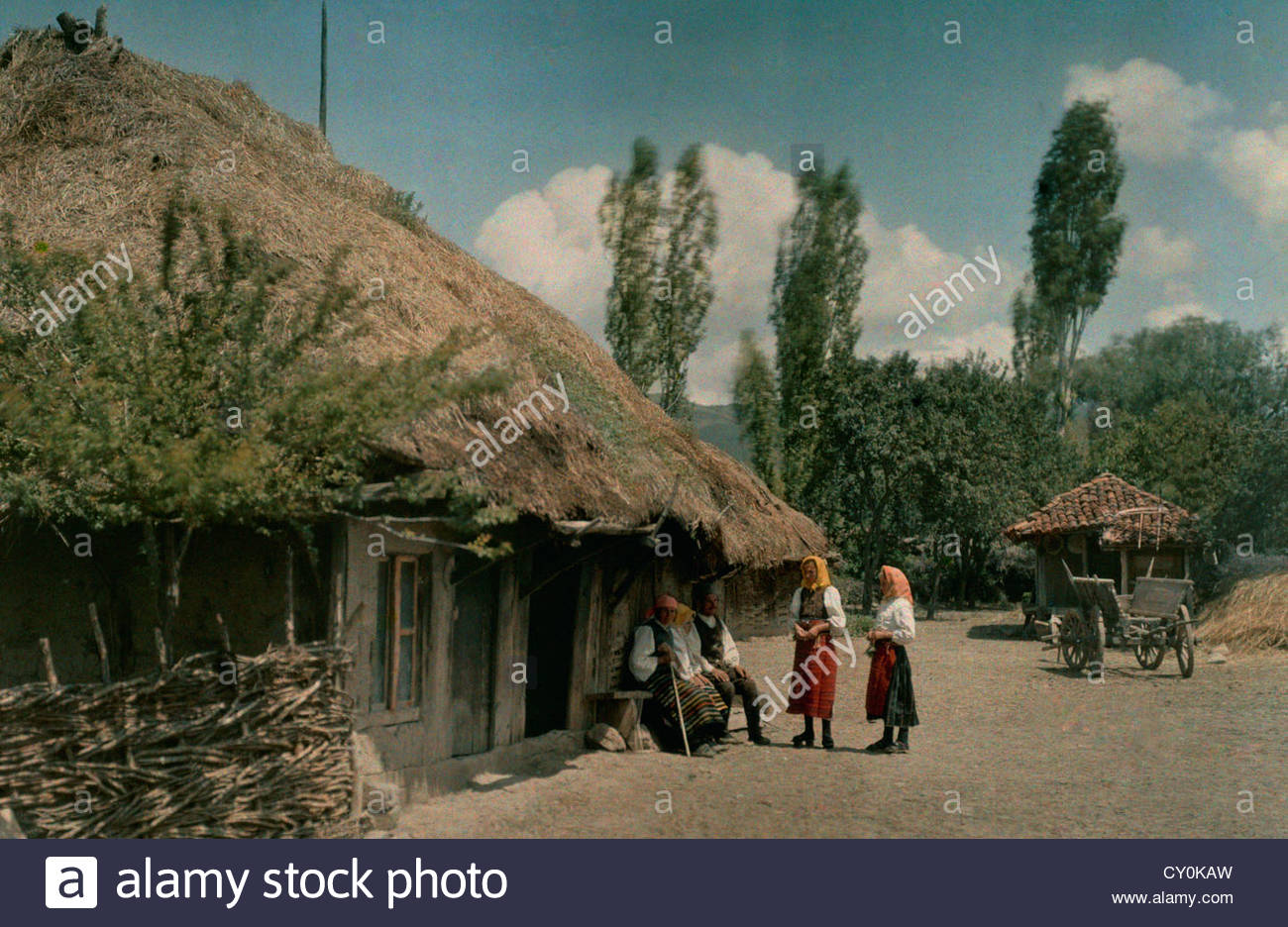 Peasants outside home located on the field of 1389 Battle of Kosovo. - Stock Image