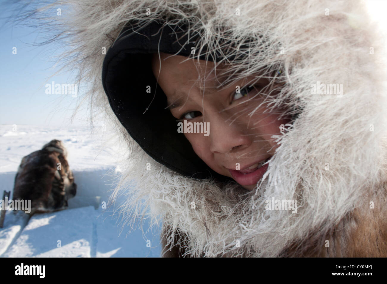 Inuit boy on the North Pole Stock Photo
